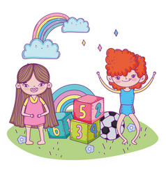 Happy children day boy and girl with ball vector