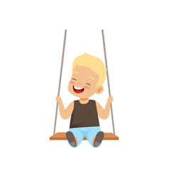 Happy smiling boy swinging on a rope swing little vector
