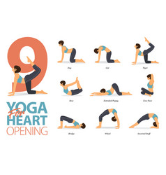 Infographic 9 yoga poses for heart opening vector