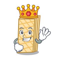 King waffle mascot cartoon style vector