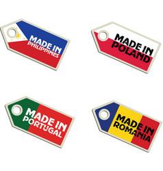 Label Made in Philippines Poland Portugal Romania vector