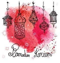 Lantern of Ramadan KareemDoodleWatercolor red vector image