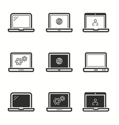 Laptop icons set vector
