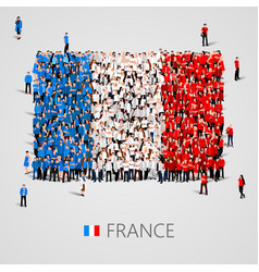 Large group of people in the france flag shape vector
