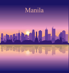 Manila city silhouette on sunset background vector