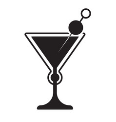 Martini drinks with cocktail glasses flat icon vector