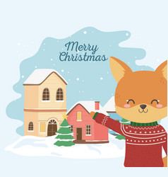 merry christmas celebration cute fox with ugly vector image