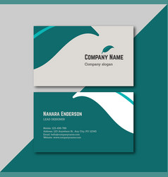 minimal and green business card design vector image