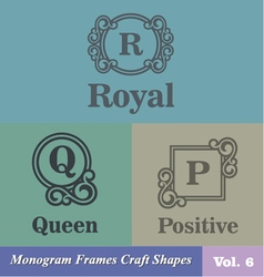 Monogram Frames Craft Shapes Set vector