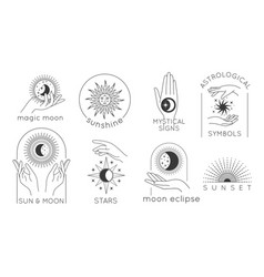 Mystic hands with star sun and moon line logos vector
