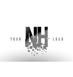 nh n h pixel letter logo with digital shattered vector image