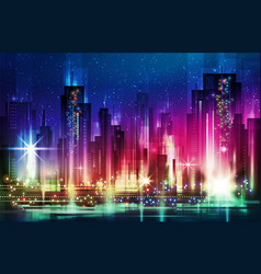 Night city with neon glow and vector