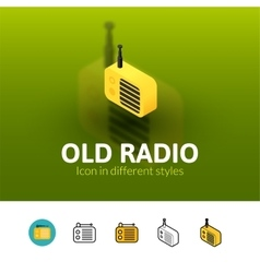 Old radio icon in different style vector image