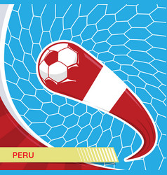 peru waving flag and soccer ball in goal net vector image