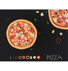 Pizza restaurant menu Ingredients for cafe vector