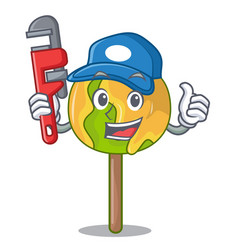 Plumber candy apple mascot cartoon vector
