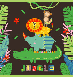 Poster with funny crocodile rhino lion monkey vector