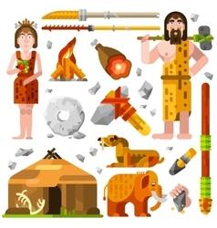 Prehistoric Stone Age Caveman Icons vector image