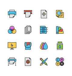 printing icon set in colorful outline style vector image