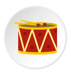 Red drum and drumsticks icon circle vector