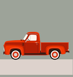 red pickup flat style vector image