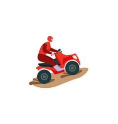 Rider on a red atv extreme multi-wheel drive quad vector