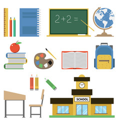 school flat set on white vector image