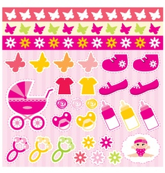 scrapbook elements with children accessories vector image