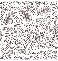Seamless hand-drawn pattern with palm trees and vector