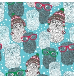 Seamless pattern with hipster polar owls vector image