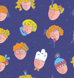 Seamless pattern with kids faces vector image
