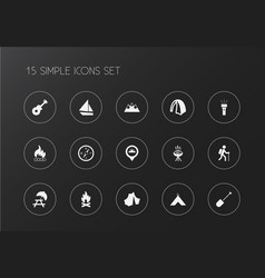 Set 15 editable trip icons includes symbols vector