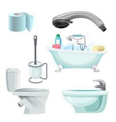 set bathroom equipment realistic vector image