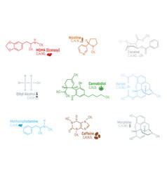 Set concept 9 narcotic chemical formula icon vector
