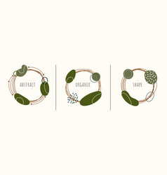 set label circles hand drawn frames with vector image
