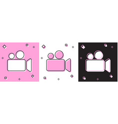 Set movie or video camera icon isolated on pink vector