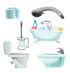 Set of bathroom equipment realistic vector