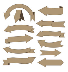 Set of cardboard arrows vector