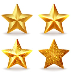 Set of shiny golden stars vector