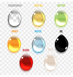 Set of transparent drops in gray colors vector