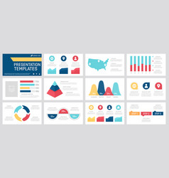 set yellow red blue and turquoise elements vector image