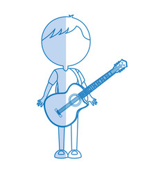 Shadow guitar body man cartoon vector