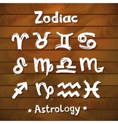 Signs of the Zodiac Wood Planks Background vector