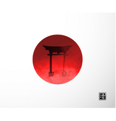 Sillhoette big red sun and sacred torii gates vector