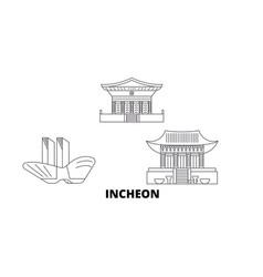 South korea incheon line travel skyline set vector