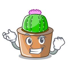 Successful cartoon star cactus plants at cactus vector