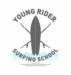surfing school logo monochrome surfboard with vector image