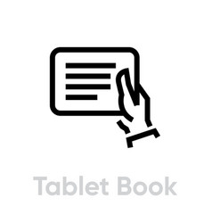 tablet book in hand icon editable line vector image