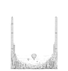 template with artistic drawing generic city vector image
