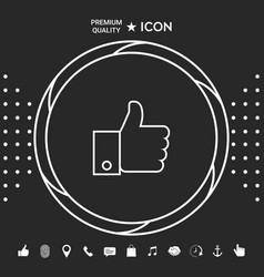 thumb up gesture line icon graphic elements for vector image